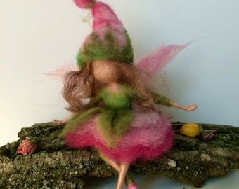 Needle felted Fairy, Waldorf inspired, Wool Flower Fairy,Pink Rose, Children room, Home decor, Art doll, Spring fairy, Gift