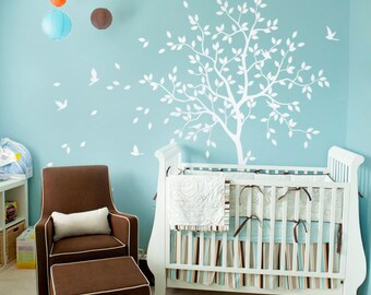 White tree wall decal nursery with birds studio wall decoration dining room wall decals nursery tree hallway wall art sticker tattoo KW031