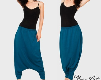 Summer Cotton Harem Pants. Drop Crotch Pants.Maxi Loose Baggy pants for Warm Weather.Hippie Japanese Pants. Plus Size Pantskirt
