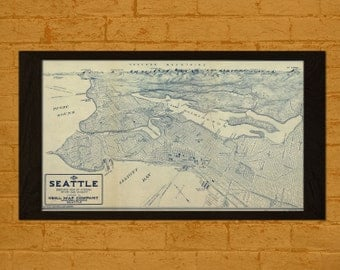 Old Map Seattle 1925 - Ancient Old Map Print Antique Map Seattle Antique Posters Old Design Wall Decor Map