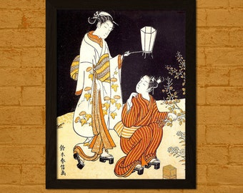 Get 1 Free Print *_* Japanese Art Print - Collecting Insects by Lamplight  - Harunobu Ukiyo-e Poster Wall Decor Oriental Decor Asian Art