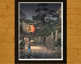 Get 1 Free Print - Japanese Art Print - Evening at Ushigome 1939 - Koitsu Ukiyo-e Print Wall Decor Oriental Decor Edo Period Japanese Poster