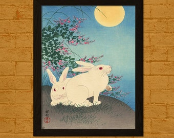 Japanese Art Print - Rabbits and the Moon 1931 - Koson Ukiyo-e Print Wall Decor Edo Period Japanese Poster Japanese Artists