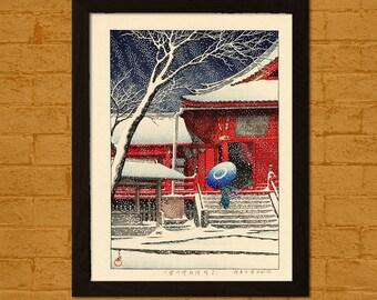Get 1 Free Print *_* Japanese Art Print - Snow at Kiyomizu Hall in Ueno 1929 - Hasui Ukiyo-e Poster Wall Decor Home Decor Asian Art Japanese
