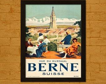 Get 1 Free Print *_* Bern Switzerland Travel Poster 1930s - Vintage Travel Print Dorm Poster Wall Decor Home Decor Retro Travel Dorm Decor