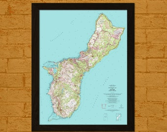 Get 1 Free Print, Old Guam Mariana Islands Map 1963 - Ancient Map Wall Art Antique Map Guam Poster Home Decor Old Map Prints Topographic Map