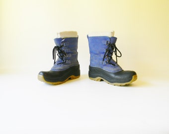 Women's Blue Leather Lands End Duck Boot / Size 5