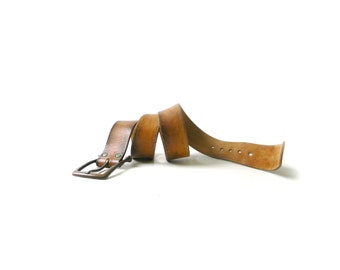 Vintage Distressed Brown Leather Belt