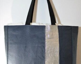 Beach Bag. Canvas and silver linen Large Tote.Lacanau Beach XL Tote bag. Cotton beach bag. Sac Anthracite.Big Bag. Sac de Plage.Waxed Cotton
