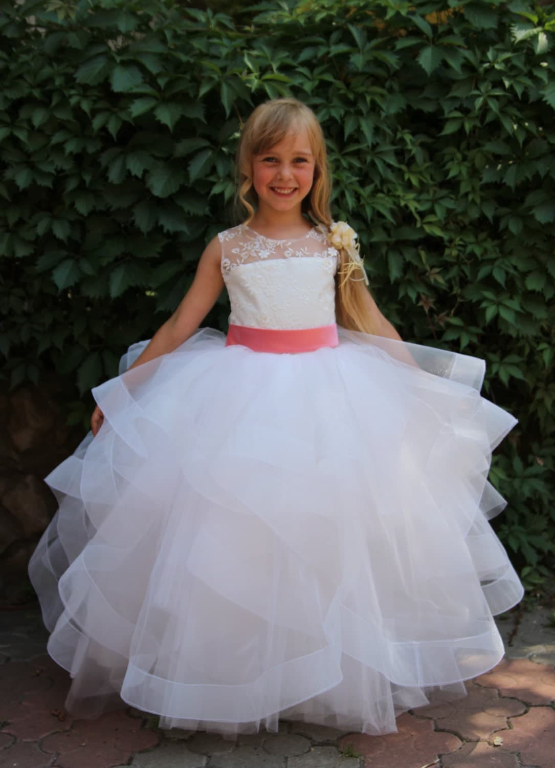 ivory flower girl dress wedding party holiday bridesmaid