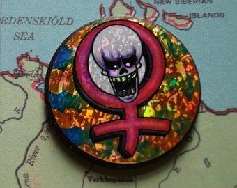 Pogs Milk Cap Game Slammer // Screaming Skull Holographic Slammer // World Federation of Pogs // Mid 90's Madness Returns