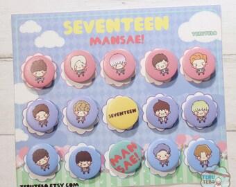SEVENTEEN kpop pins - Mansae 1.25 button pins / seventeen pins / kpop badges / seventeen mansae
