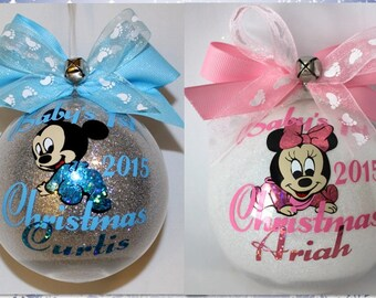 Baby's First Christmas Ornament Baby Mickey Mouse or Minnie Mouse with Name & Year Acrylic or Glass made with Vinyl decals FIRST NAME ONLY