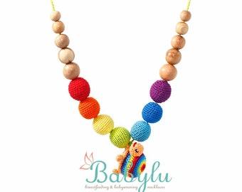 Rainbow Turtle Nursing Necklace / Teething Necklace