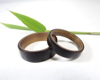 Wooden Engagement Rings Set from Ebony and Walnut // Wedding rings set // wooden ring //  Ring for men // Ring for women // wedding band