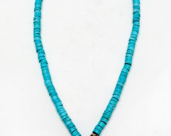 1990s -- Santa Fe, New Mexico - Turquoise Blue Green Necklace w/ Cross - Silver or Silver Tone Touches