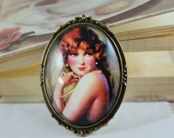 Brooch Retro Red haired Girl