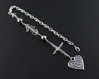 Heart, Cross & Angel Rear View Mirror Ornament - Wire Wrapped Cross Car Accessories For Women - Cross, Angel Rear View Mirror Charm - Gift