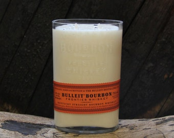 Bulleit Bourbon Candle - Recycled Bourbon Bottle Candle Hand Poured Soy Candle 750ml Recycled Liquor Bottle 18oz Soy Wax, Custom Scent