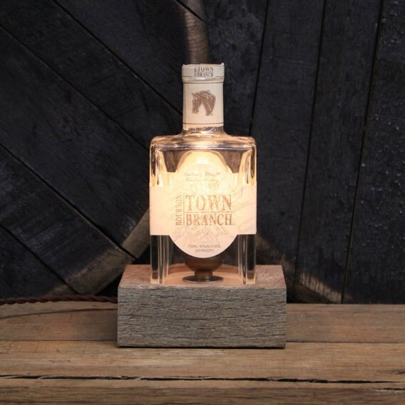 Handmade Recycled Town Branch Bourbon Bottle Lamp - Features Reclaimed Wood Base, Edison Bulb, Twisted Cloth Wire, In line Switch, And Plug