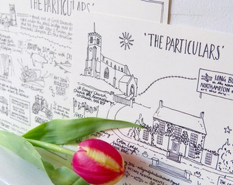 The Particulars - bespoke wedding day information card - hand drawn, made to order, always unique