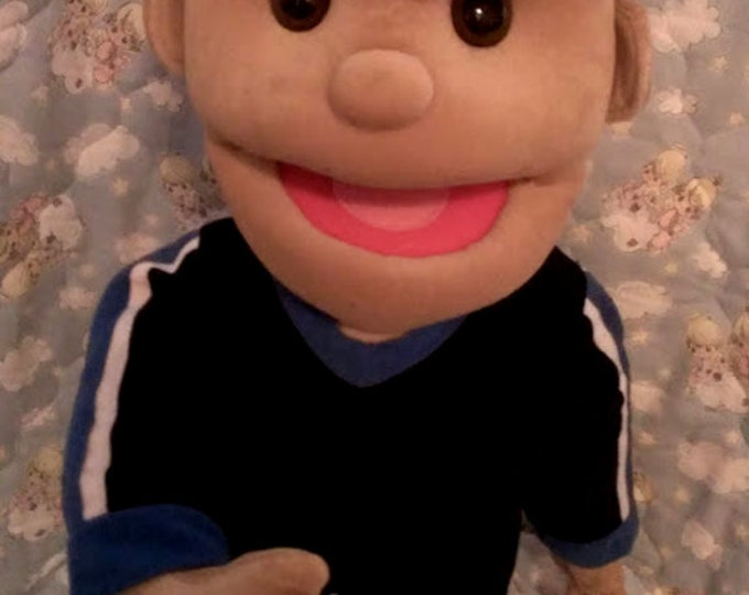 Puppet - Large Professional Half Body Arm Rod Puppet - Cute Boy with Brown Hair - Stage Puppets