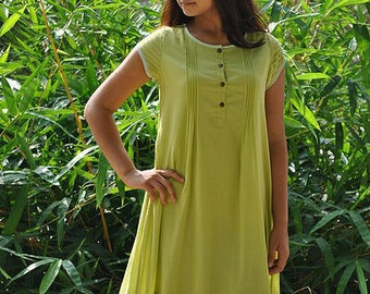 Premium Voile Fresh Lime Tunic / Kurti / Top with pleats on the front.