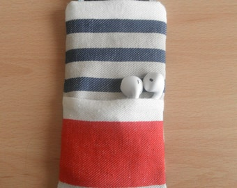 Striped iPod Sleeve with Pocket