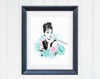Audrey Hepburn Print, Audrey Hapburn Wall Art Portrait Breakfast at Tiffanys Print Watercolor Fashion Illustration Printable Peony Decor