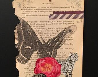 Moth & Leopard Original Mixed Media Art Work Collage