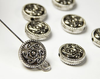10 Pcs - 10x3mm Round Metal Spacer Beads - Tibetan Silver - Spacer Beads - Jewelry Supplies