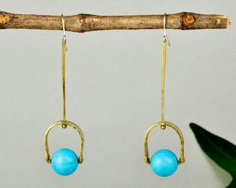 Turquoise drop earrings, brass hammered drops, contemporary earrings, long earrings, December Birthstone  drops, woman minimal drop