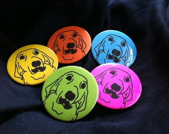Dog with Mustache Magnet or Pinback Button