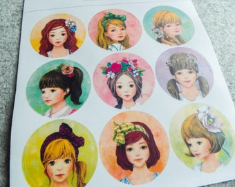 Cute stickers with painted portraits of girls