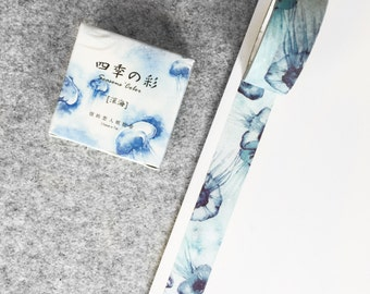 Cute washi tape - blue jellyfish | Cute Stationery