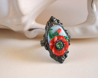Ring Polymer Clay Red Poppy ring Romantic Jewelry handmade red ring Floral Ring Beautiful gift idea|for|her retro Jewelry vintage style ring
