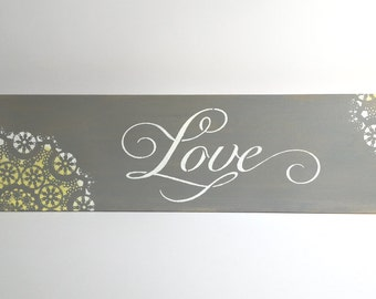 Yellow and gray decoration, Yellow and gray Decor, Gray and yellow wall art, Yellow and gray bedroom, Wedding gift, love sign