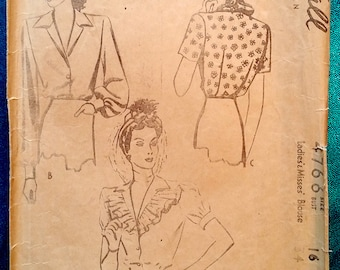 """Rare vintage 1942 blouse sewing pattern - McCall 4766 - size 16 (34"""" bust, 28"""" waist, 37"""" hip) - 1940s"""