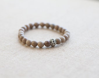 Fossil coral bracelet, natural coral stone bracelet silver bead, earth stone bracelet, nature bracelet, gemstone bracelet, elastic bracelet