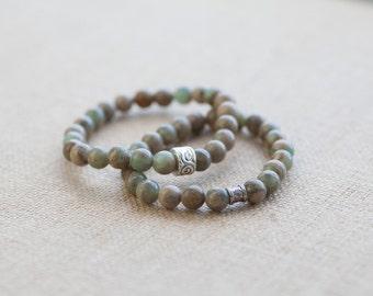 Impression jasper bracelet, natural aqua terra bracelet with silver bead