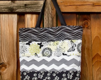 Green, Grey, Black, and White Modern Diaper Bag and Matching Zipper Pouch