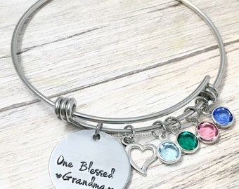 Blessed Grandma, Grandma Wire Bracelet, Hand Stamped, Personalized Grandma Jewelry, Grandmother, Nana, Mothers Day Gift, Grandkid Jewelry