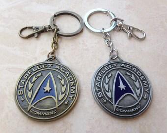 Star Trek Starfleet Academy Command Insignia Symbol Medallion Keychain // Gunmetal Grey or Bronze