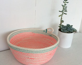 Pink & Turqoise Cotton Rope Bowl