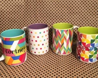 personalized mug polka dots mug herringbone mug quarter moon mug abstract mug colorful personalized mug office mug cute mugs coffee - Colorful Mugs