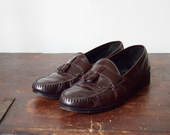s a l e 1980s TownCraft Brown Tasseled Loafers 9/9.5