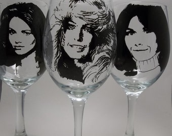 Charlie's Angels, Hand Painted Glasses, Painted Wine Glasses