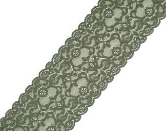 Stretch Lace green color, lace trim, wide lace, elastic lace trim, lingerie lace, width 6,89 inch, 17,5 sm, lace per metre, Nr2223