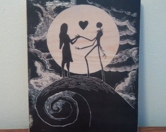 Nightmare Before Christmas - Jack Skellington and Sally - Handmade Wooden Sign
