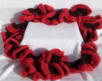 Red and brown crocheted curly scarf, crocheted ruffle scarf, long curly scarf, handmade ruffle scarf, crocheted curly scarf, warm scarf